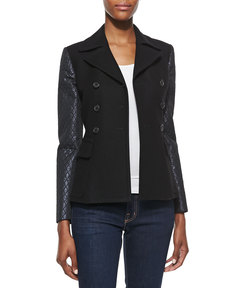 Michael Kors Double-Face Jacket with Quilted Sleeves