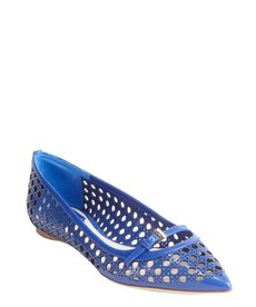 Christian Dior electric blue textured leather ballet flats