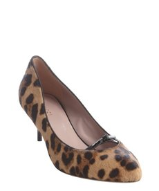 Gucci light brown leopard print calf hair kitten heels