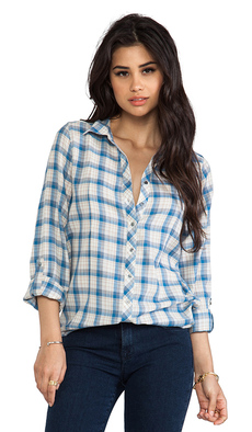 Joie Moshina b Grungy Plaid Blouse in Blue