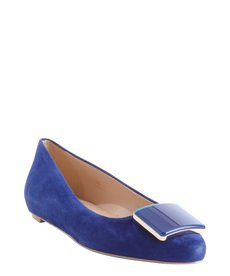 Tod's cobalt blue leather square emblem pointed toe flats
