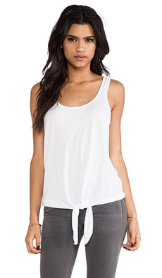 Michael Stars Tie Front Tank in White