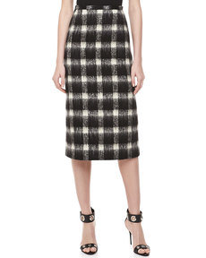 Michael Kors Brushed Check Pencil Skirt, Black/Ivory