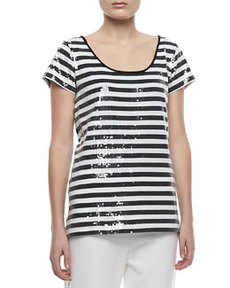 Joan Vass Sequined Striped Short-Sleeve Tee