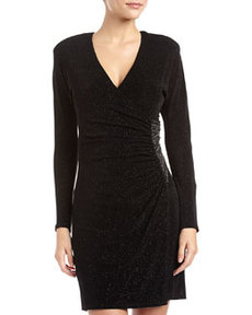 Laundry by Shelli Segal Glitzy Embellished Faux-Wrap Dress, Black