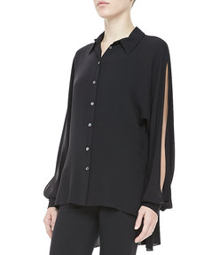 Michael Kors Silk Georgette Slit Long-Sleeve Top
