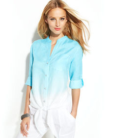 INC International Concepts Petite Dip-Dye Button-Down Tie-Front Shirt