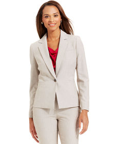 Anne Klein Petite Single-Button Pinstriped Blazer