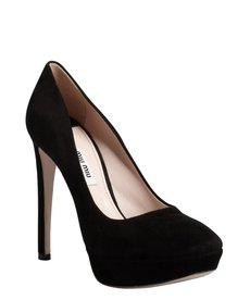 Miu Miu black suede square toe platform pumps
