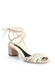 Narciso Rodriguez Lizard-Embossed Leather & Suede Tie-Up Sandals