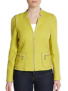 Lafayette 148 New York Haley Leather-Trim Zip Jacket