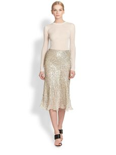 Jason Wu Sequin Embellished Bias Cut Silk Skirt