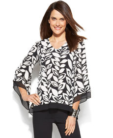 Alfani Chiffon-Trim Leaf-Print Top