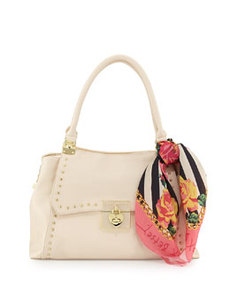 Betsey Johnson Wrap Party Studded PVC Satchel, Cream