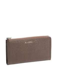 Givenchy brown leather zip around continental wallet