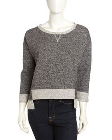 French Connection Knit 3/4-Sleeve High-Low Sweatshirt, Charcoal