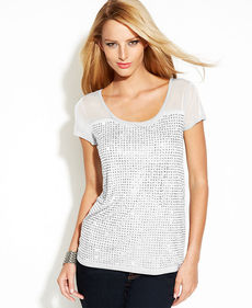 INC International Concepts Illusion-Sleeve Rhinestone Tee