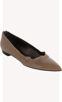 Lanvin Grosgrain-Trimmed Pointed Toe Flat