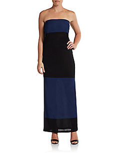 Calvin Klein Collection Strapless Colorblock Maxi Dress