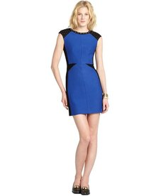 A.B.S. by Allen Schwartz cobalt blue studded colorblock stretch ponte cap sleeve dress