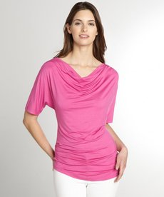Three Dots azalea stretch jersey drape neck t-shirt