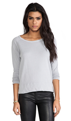 James Perse Vintage Cotton Raglan Pullover in Gray