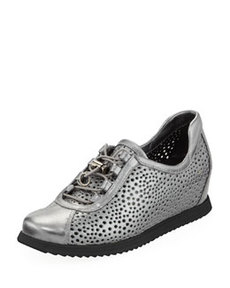 On Your Mark Wedge Sneaker, Pewter   On Your Mark Wedge Sneaker, Pewter