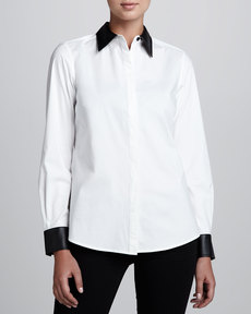 Go Silk Shirt with Faux Leather Trim, Women's