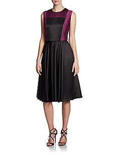 Carmen Marc Valvo Pleated Satin Colorblock Dress
