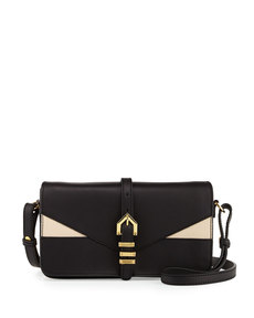 Linea Pelle Hayden Colorblocked Leather Clutch Bag, Black/Nude