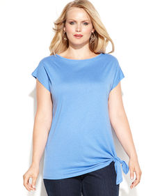 MICHAEL Michael Kors Plus Size Short-Sleeve Side-Tie Top