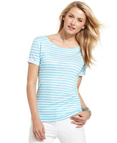 Charter Club Short-Sleeve Striped Linen Tee