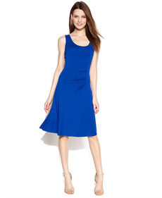 Calvin Klein Sleeveless Ruched-Side Jersey Dress