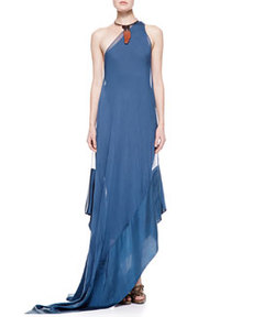Double Layer One-Shoulder Gown, Indigo   Double Layer One-Shoulder Gown, Indigo