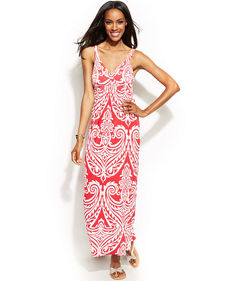 INC International Concepts Printed Empire-Waist Maxi Dress