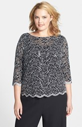 Alex Evenings Lace Blouse (Plus Size)