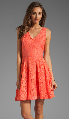 DV by Dolce Vita Thereza Neon Lace Mini Dress in Coral