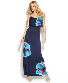 INC International Concepts Ruffled Floral-Print Maxi Dress