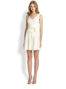 Trina Turk Belted Jacquard Flared Dress