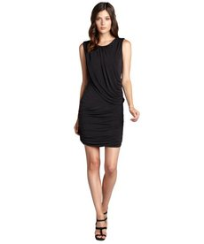 Andrew Marc black matte jersey grecian sleeveless dress