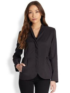 Eileen Fisher High-Collar Peplum Jacket