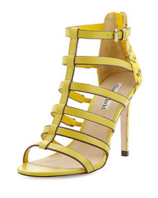Charles David Idealize Snakeskin Strappy Sandal, Yellow