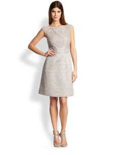 Kay Unger Lace & Tweed Dress