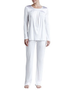 Sophia Interlock Pajama Set, Off White   Sophia Interlock Pajama Set, Off White