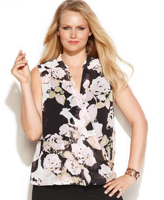 INC International Concepts Plus Size Sleeveless Floral-Print Surplice Blouse