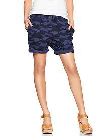 Camo boyfriend roll-up shorts