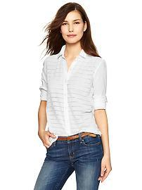 Fitted boyfriend eyelet-stripe shirt