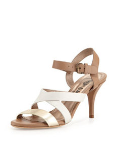 Low-Heel Strappy Leather Sandal, Off White   Low-Heel Strappy Leather Sandal, Off White