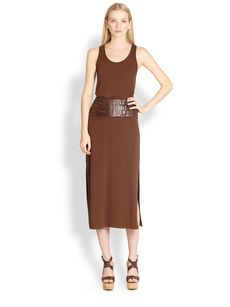 Michael Kors Belted Jersey Tank Dress