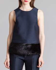 Marni Organdy V-Back Fur-Hem Top